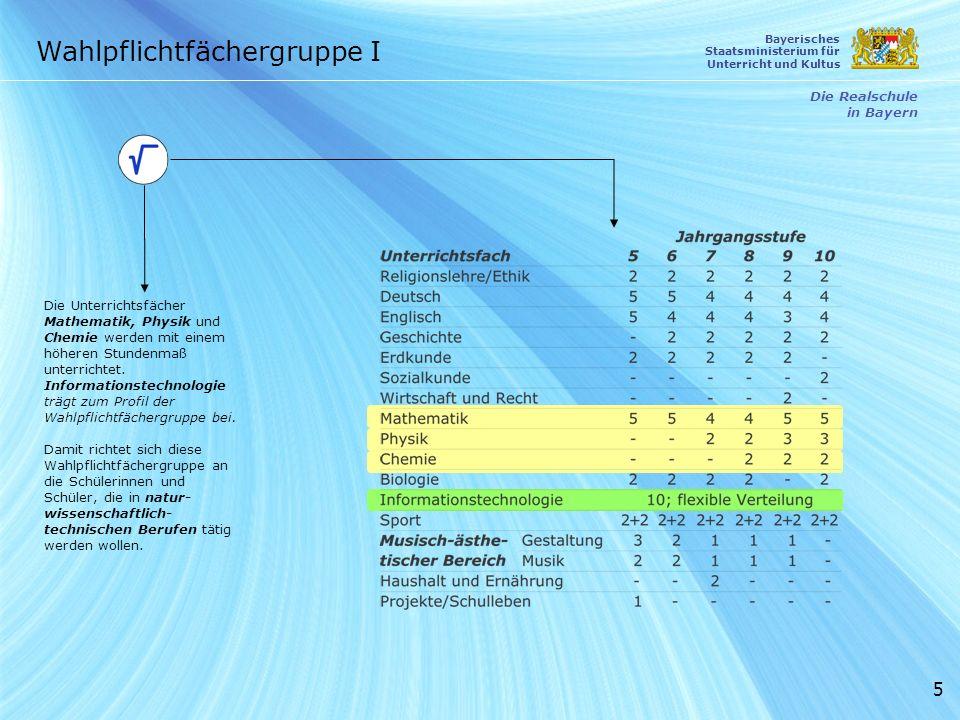5 Die Unterrichtsfächer Mathematik, Physik und Chemie werden mit einem höheren Stundenmaß unterrichtet. Informationstechnologie trägt zum Profil der W