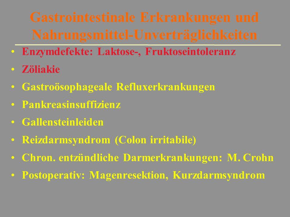 Gastrointestinale Erkrankungen und Nahrungsmittel-Unverträglichkeiten Enzymdefekte: Laktose-, Fruktoseintoleranz Zöliakie Gastroösophageale Refluxerkr