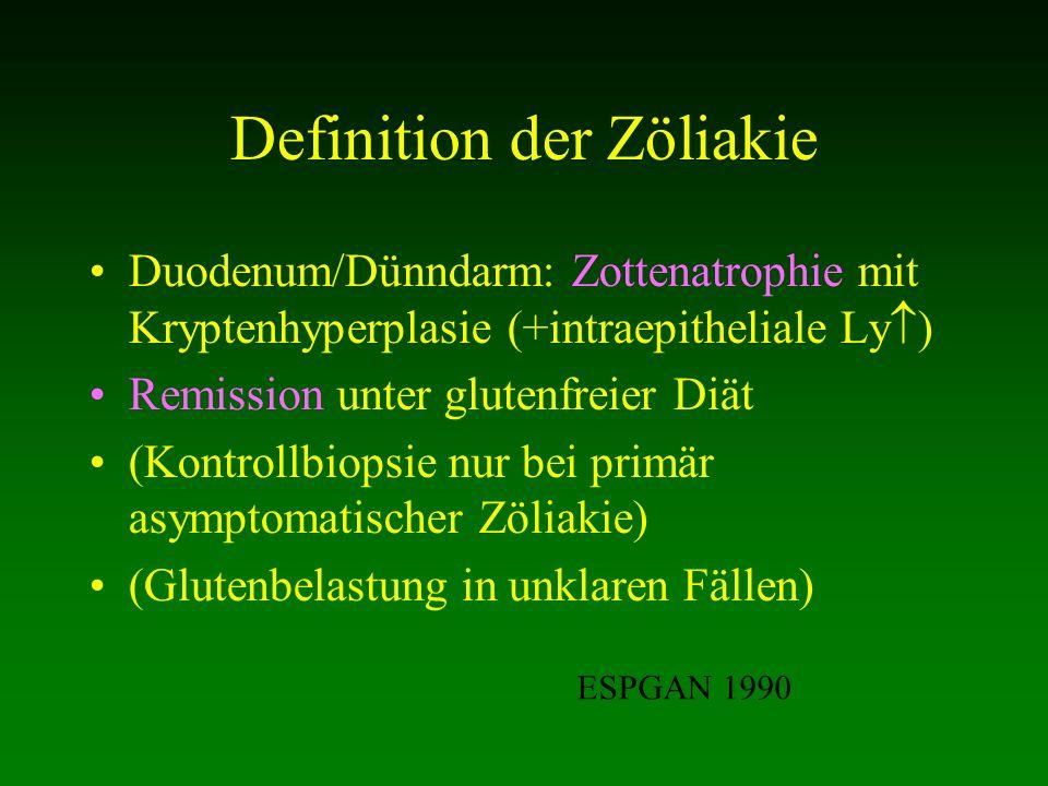 Definition der Zöliakie Duodenum/Dünndarm: Zottenatrophie mit Kryptenhyperplasie (+intraepitheliale Ly ) Remission unter glutenfreier Diät (Kontrollbi