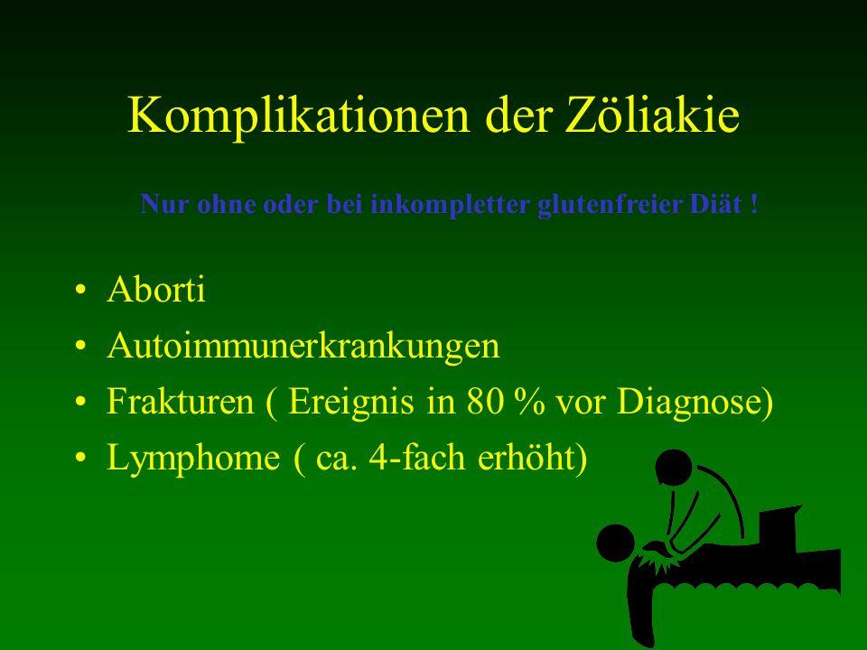 Komplikationen der Zöliakie Aborti Autoimmunerkrankungen Frakturen ( Ereignis in 80 % vor Diagnose) Lymphome ( ca. 4-fach erhöht) Nur ohne oder bei in
