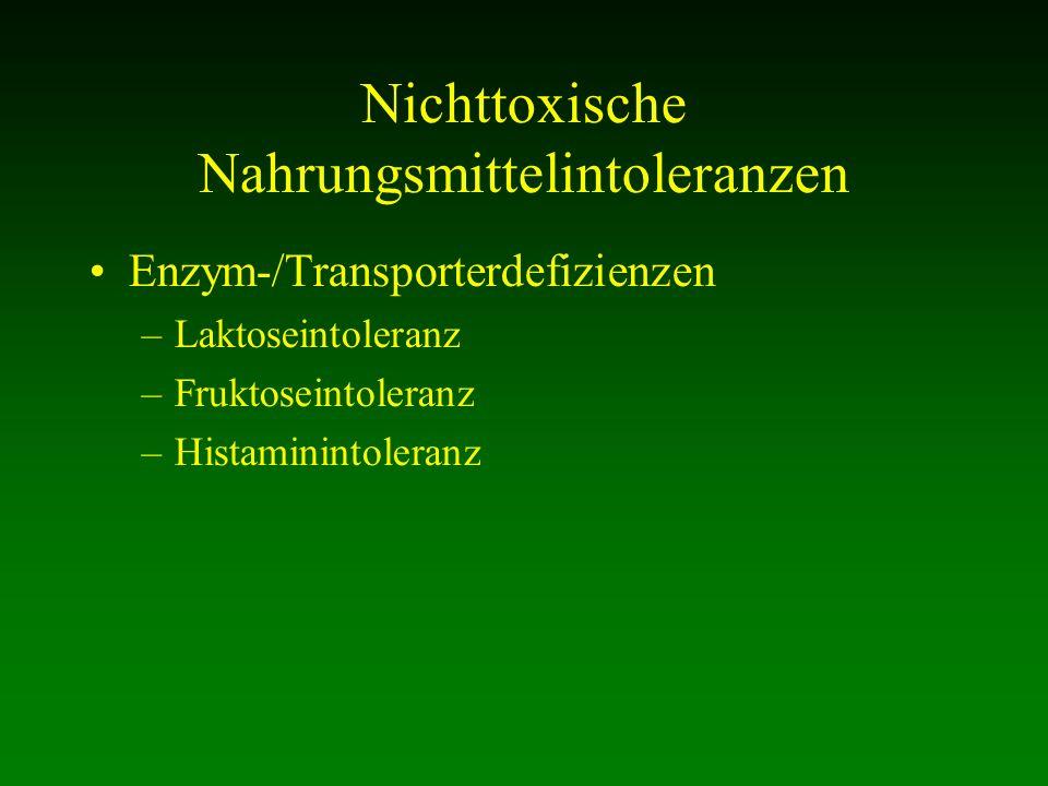 Nichttoxische Nahrungsmittelintoleranzen Enzym-/Transporterdefizienzen –Laktoseintoleranz –Fruktoseintoleranz –Histaminintoleranz