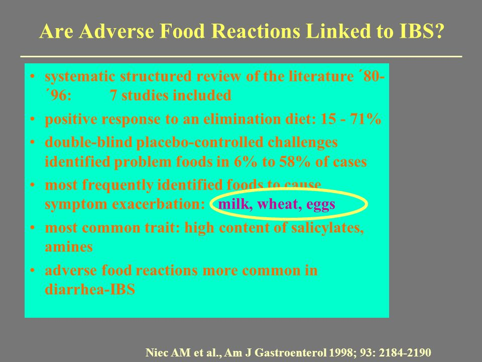 Are Adverse Food Reactions Linked to IBS? systematic structured review of the literature ´80- ´96:7 studies included positive response to an eliminati