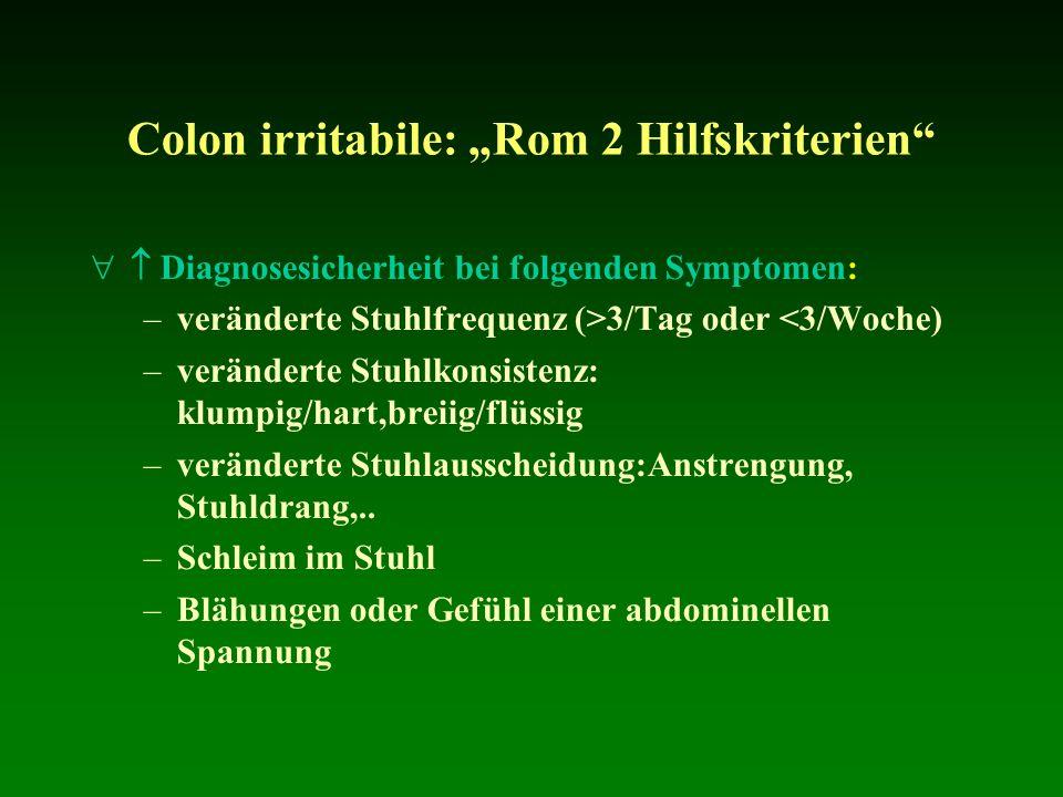 Colon irritabile: Rom 2 Hilfskriterien Diagnosesicherheit bei folgenden Symptomen: –veränderte Stuhlfrequenz (>3/Tag oder <3/Woche) –veränderte Stuhlk