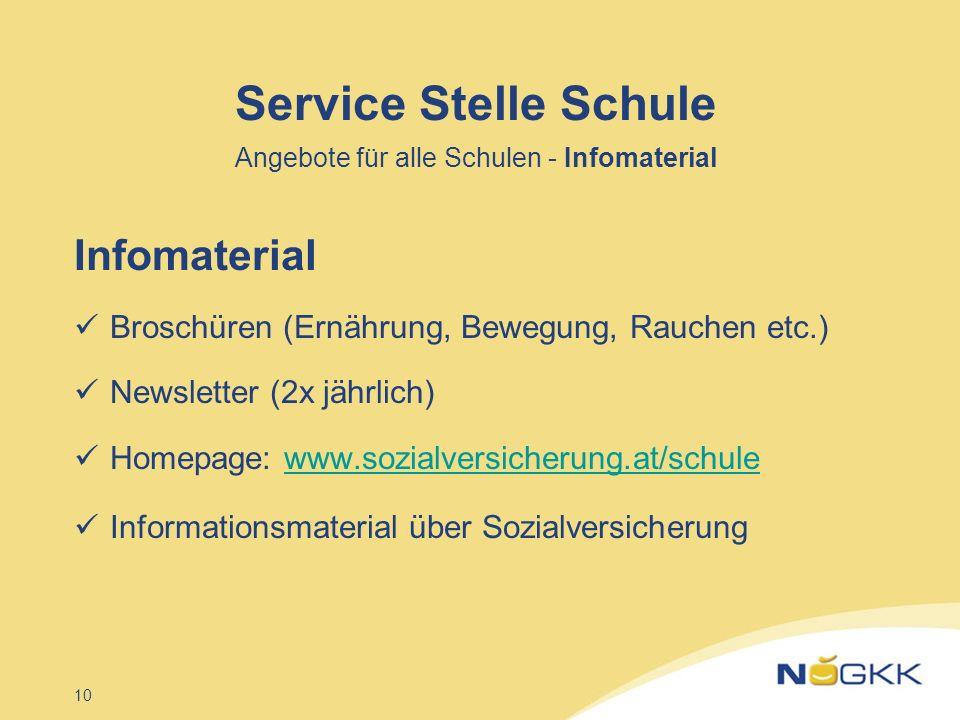 10 Service Stelle Schule Angebote für alle Schulen - Infomaterial Infomaterial Broschüren (Ernährung, Bewegung, Rauchen etc.) Newsletter (2x jährlich)
