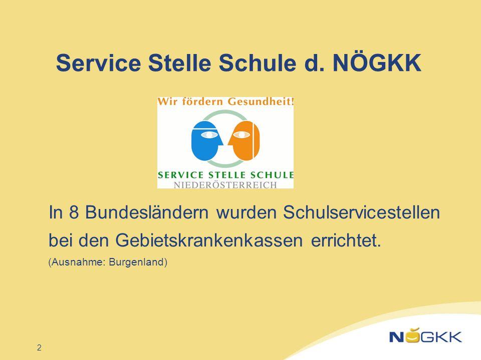 2 Service Stelle Schule d. NÖGKK In 8 Bundesländern wurden Schulservicestellen bei den Gebietskrankenkassen errichtet. (Ausnahme: Burgenland)