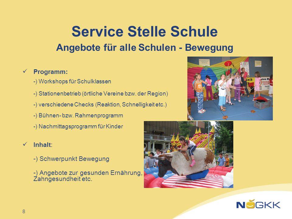 8 Service Stelle Schule Angebote für alle Schulen - Bewegung Programm: -) Workshops für Schulklassen -) Stationenbetrieb (örtliche Vereine bzw. der Re