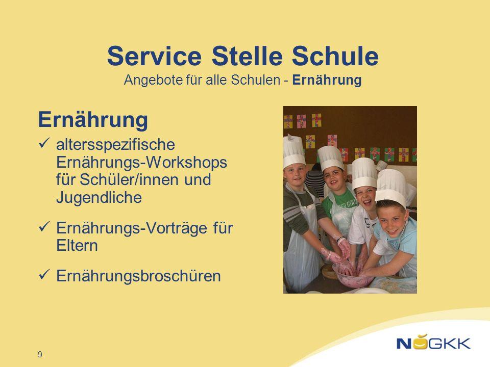 9 Service Stelle Schule Angebote für alle Schulen - Ernährung Ernährung altersspezifische Ernährungs-Workshops für Schüler/innen und Jugendliche Ernäh