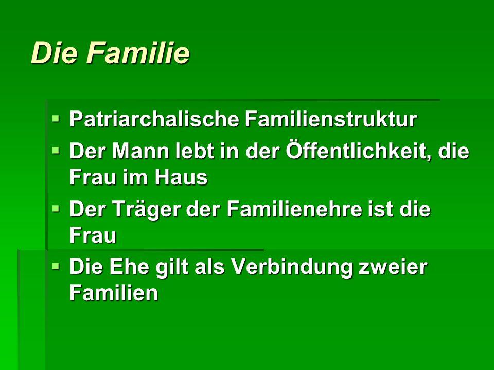 Die Familie Patriarchalische Familienstruktur Patriarchalische Familienstruktur Der Mann lebt in der Öffentlichkeit, die Frau im Haus Der Mann lebt in