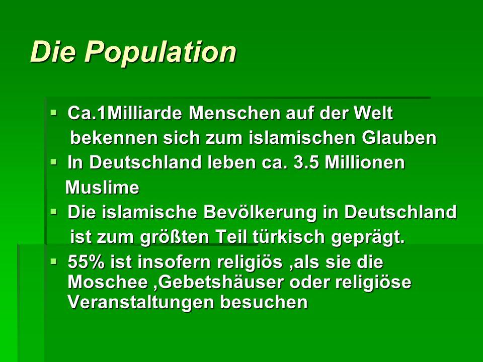 Die Population Ca.1Milliarde Menschen auf der Welt Ca.1Milliarde Menschen auf der Welt bekennen sich zum islamischen Glauben bekennen sich zum islamis