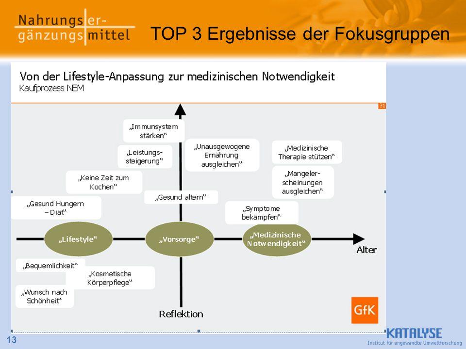 13 TOP 3 Ergebnisse der Fokusgruppen