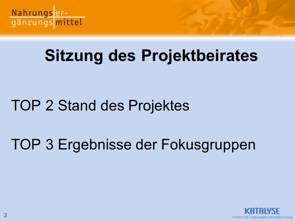 2 Sitzung des Projektbeirates TOP 2 Stand des Projektes TOP 3 Ergebnisse der Fokusgruppen