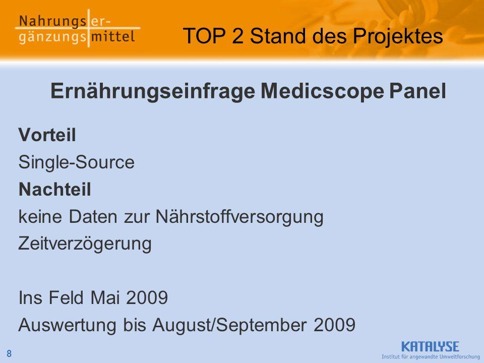 Vorteil Single-Source Nachteil keine Daten zur Nährstoffversorgung Zeitverzögerung Ins Feld Mai 2009 Auswertung bis August/September 2009 8 TOP 2 Stan