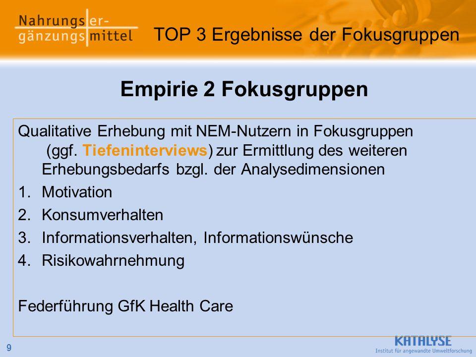 9 Empirie 2 Fokusgruppen Qualitative Erhebung mit NEM-Nutzern in Fokusgruppen (ggf. Tiefeninterviews) zur Ermittlung des weiteren Erhebungsbedarfs bzg