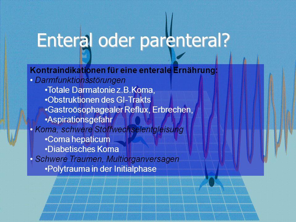 Enteral oder parenteral? Kontraindikationen für eine enterale Ernährung: Darmfunktionsstörungen Totale Darmatonie z.B.Koma, Obstruktionen des GI-Trakt