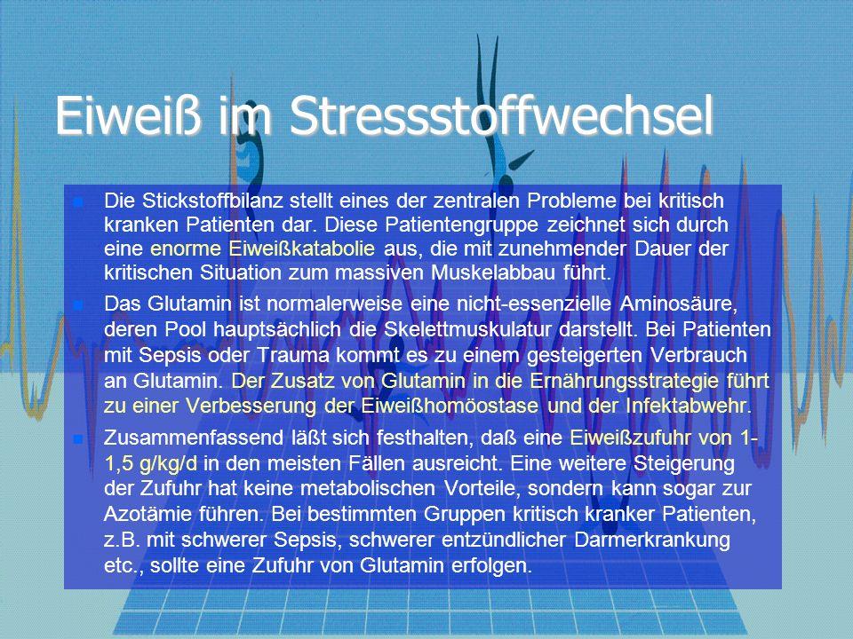 Eiweiß im Stressstoffwechsel Die Stickstoffbilanz stellt eines der zentralen Probleme bei kritisch kranken Patienten dar. Diese Patientengruppe zeichn