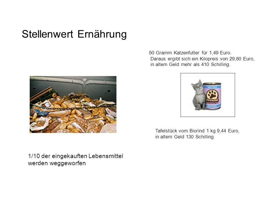 Stellenwert Ernährung 50 Gramm Katzenfutter für 1,49 Euro.