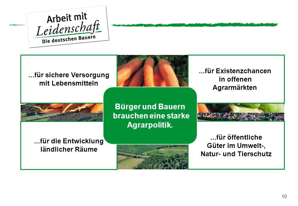10...für sichere Versorgung mit Lebensmitteln...für Existenzchancen in offenen Agrarmärkten...für die Entwicklung ländlicher Räume...für öffentliche G