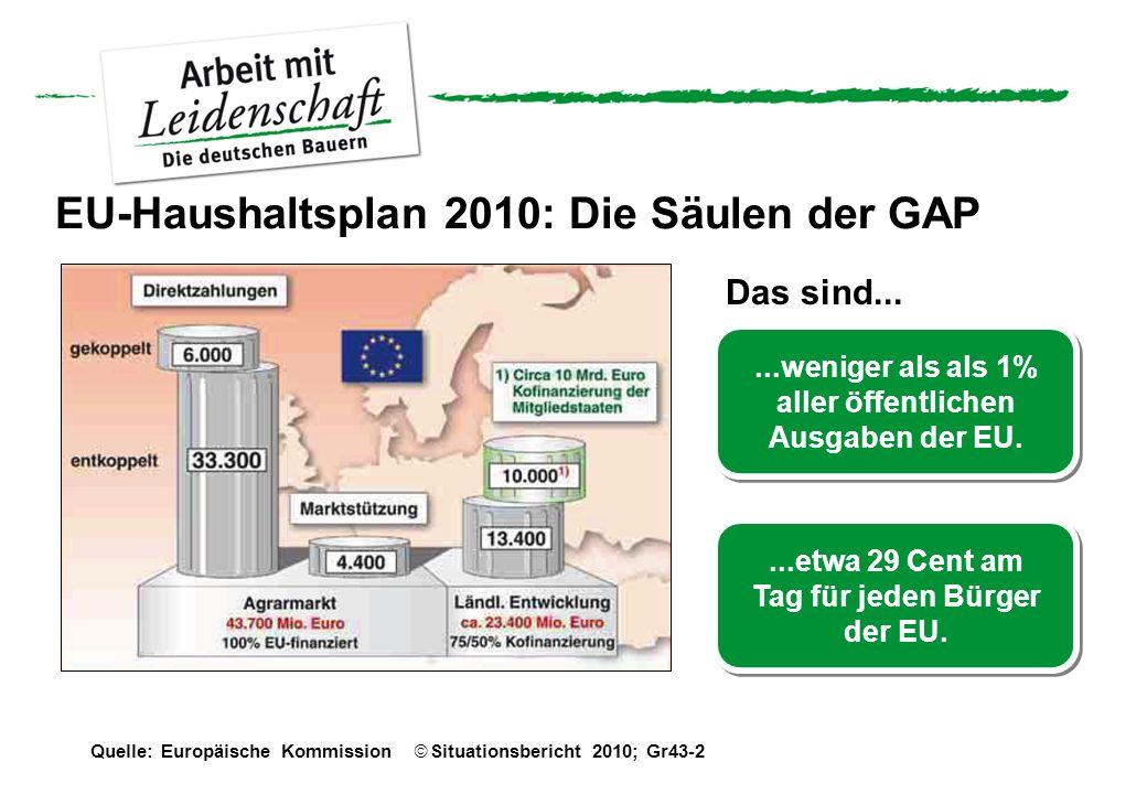Quelle: Europäische Kommission Situationsbericht 2010; Gr43-2 EU-Haushaltsplan 2010: Die Säulen der GAP Das sind......weniger als als 1% aller öffentl