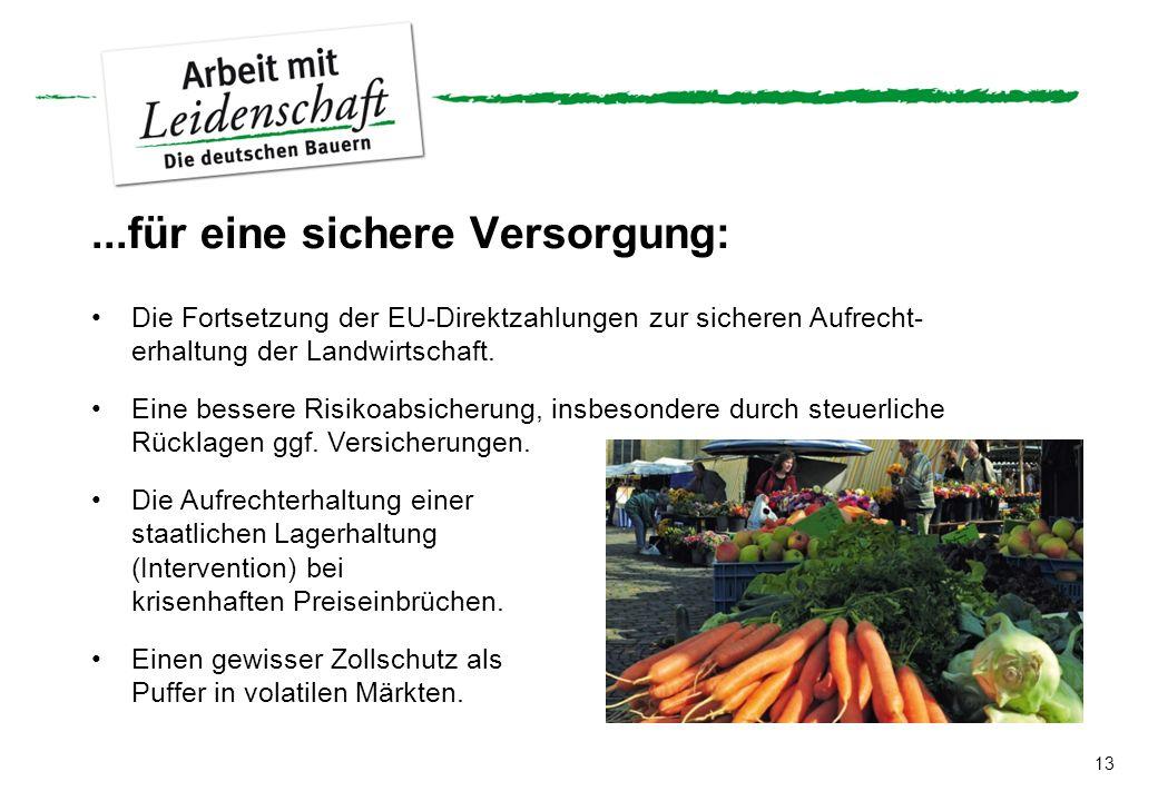 13...für eine sichere Versorgung: Die Fortsetzung der EU-Direktzahlungen zur sicheren Aufrecht- erhaltung der Landwirtschaft. Eine bessere Risikoabsic
