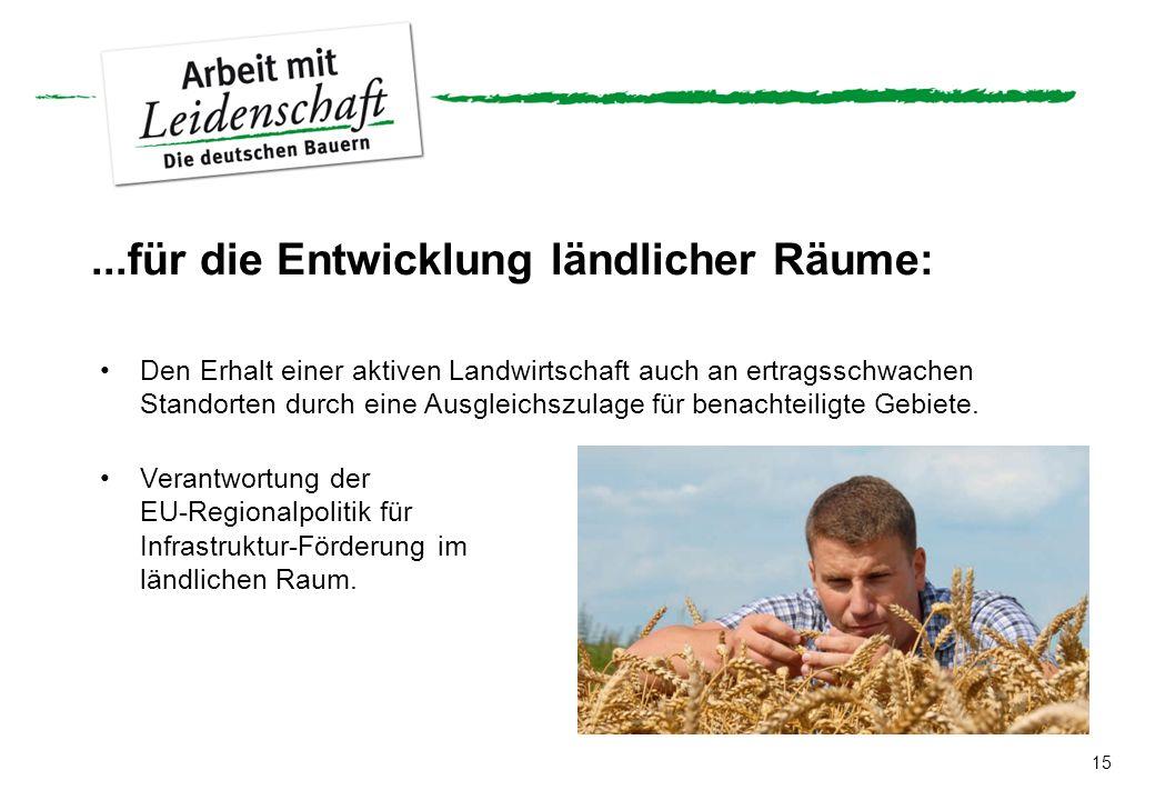 15...für die Entwicklung ländlicher Räume: Den Erhalt einer aktiven Landwirtschaft auch an ertragsschwachen Standorten durch eine Ausgleichszulage für