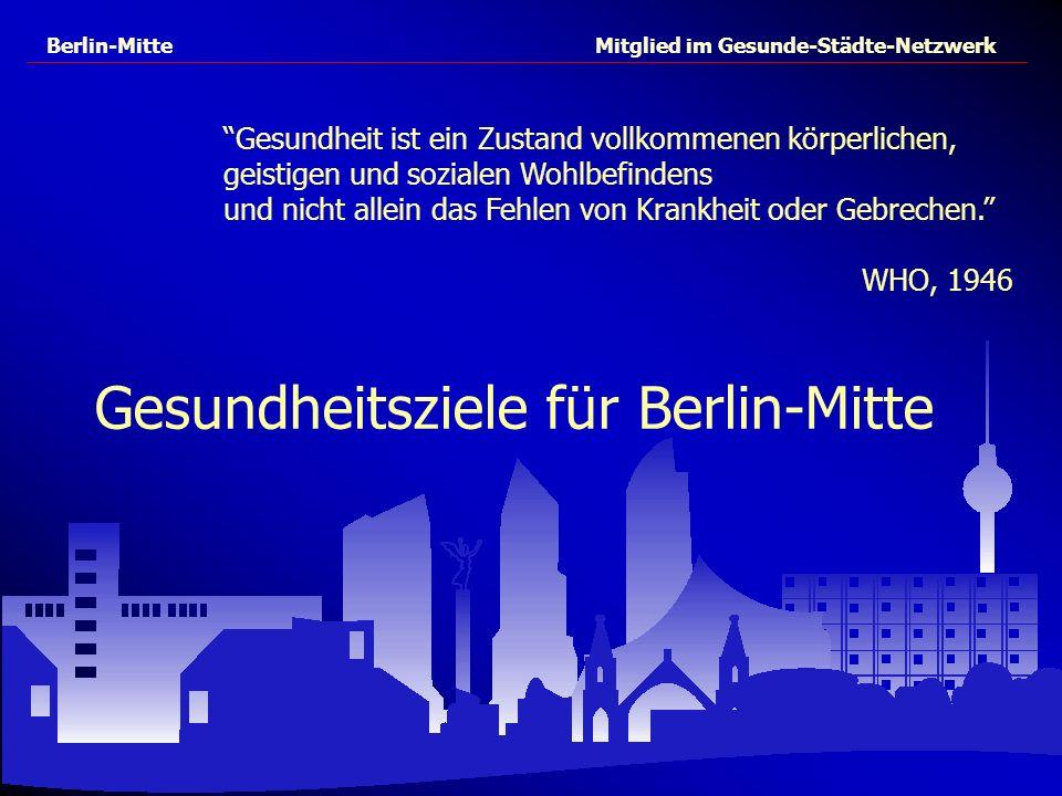 Berlin-Mitte Mitglied im Gesunde-Städte-Netzwerk Gesundheitsziele für Berlin-Mitte Gesundheit ist ein Zustand vollkommenen körperlichen, geistigen und
