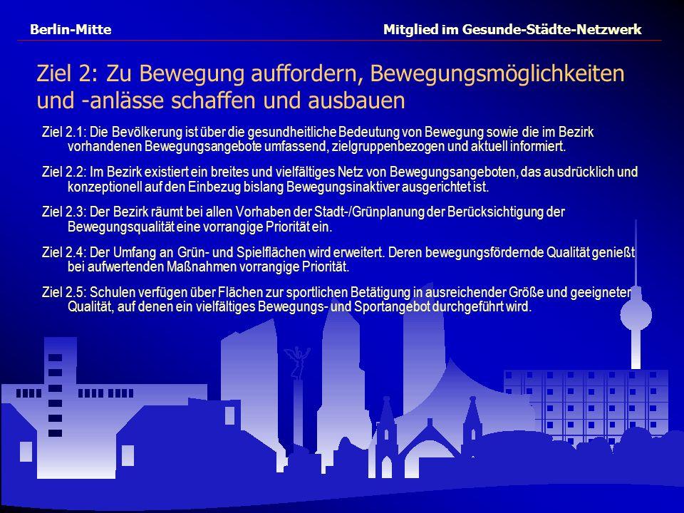 Berlin-Mitte Mitglied im Gesunde-Städte-Netzwerk Ziel 2: Zu Bewegung auffordern, Bewegungsmöglichkeiten und -anlässe schaffen und ausbauen Ziel 2.1: D