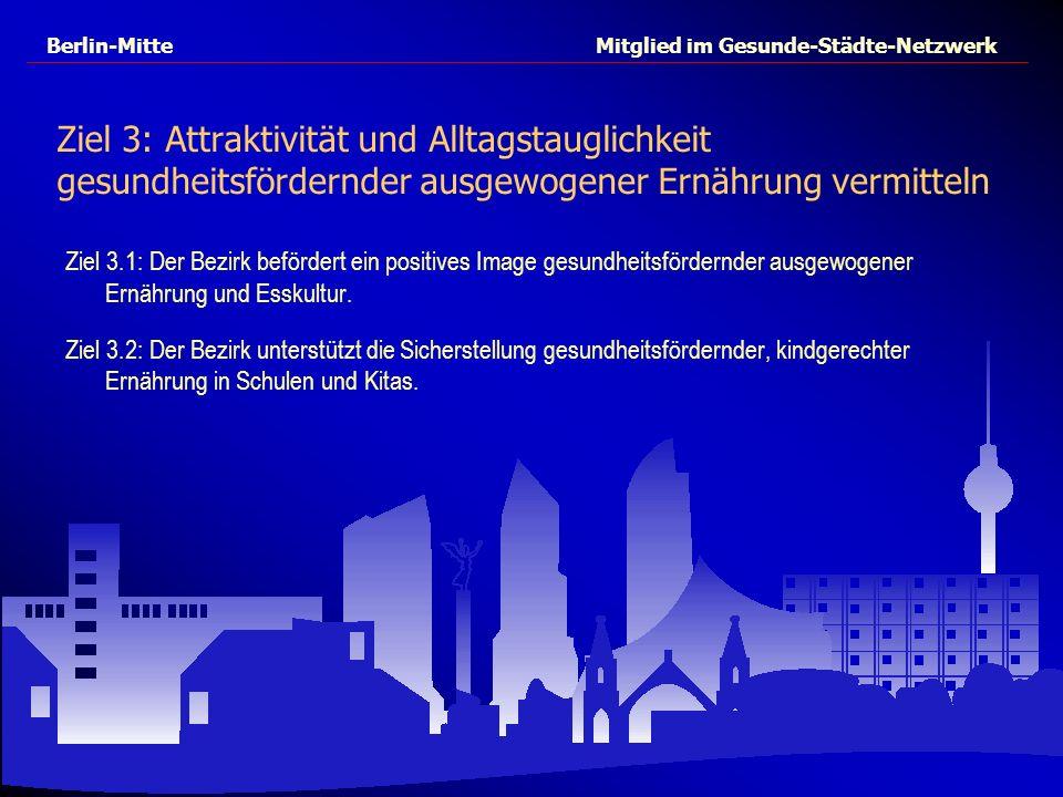 Berlin-Mitte Mitglied im Gesunde-Städte-Netzwerk Ziel 3: Attraktivität und Alltagstauglichkeit gesundheitsfördernder ausgewogener Ernährung vermitteln