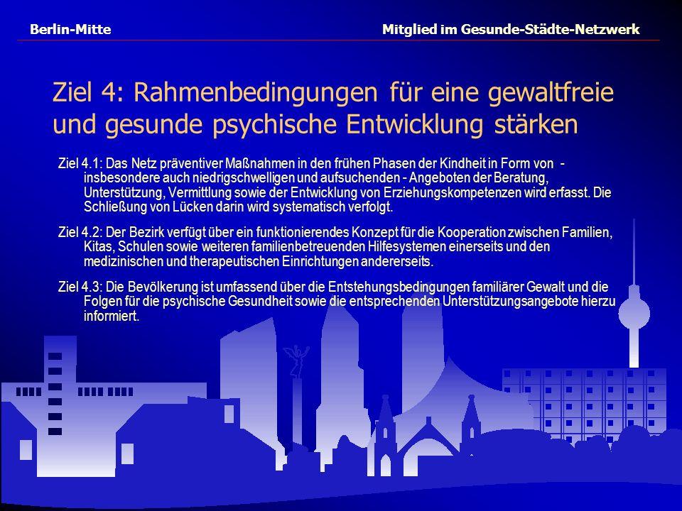 Berlin-Mitte Mitglied im Gesunde-Städte-Netzwerk Ziel 4: Rahmenbedingungen für eine gewaltfreie und gesunde psychische Entwicklung stärken Ziel 4.1: D