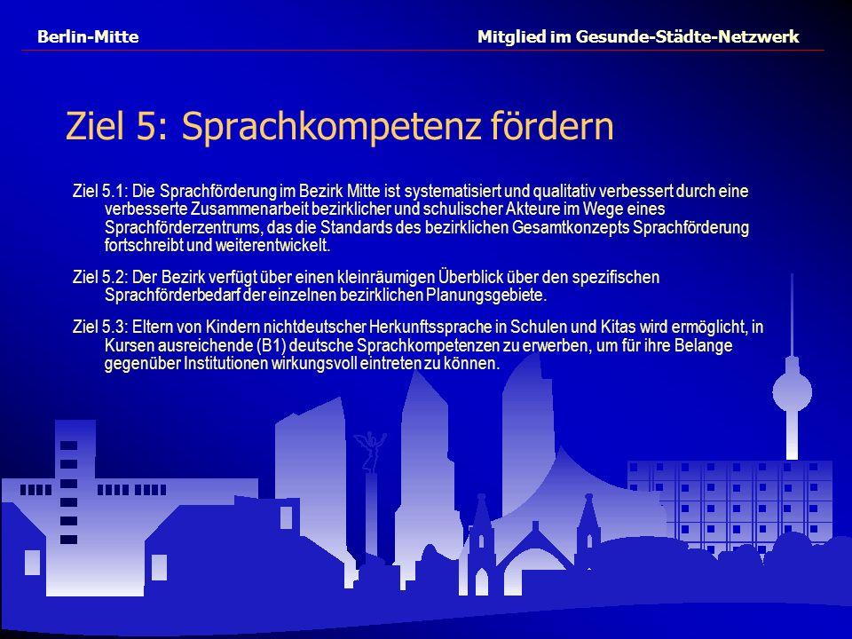 Berlin-Mitte Mitglied im Gesunde-Städte-Netzwerk Ziel 5: Sprachkompetenz fördern Ziel 5.1: Die Sprachförderung im Bezirk Mitte ist systematisiert und