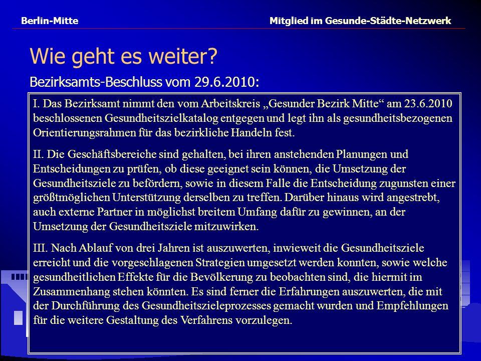 Berlin-Mitte Mitglied im Gesunde-Städte-Netzwerk Wie geht es weiter? Bezirksamts-Beschluss vom 29.6.2010: I. Das Bezirksamt nimmt den vom Arbeitskreis