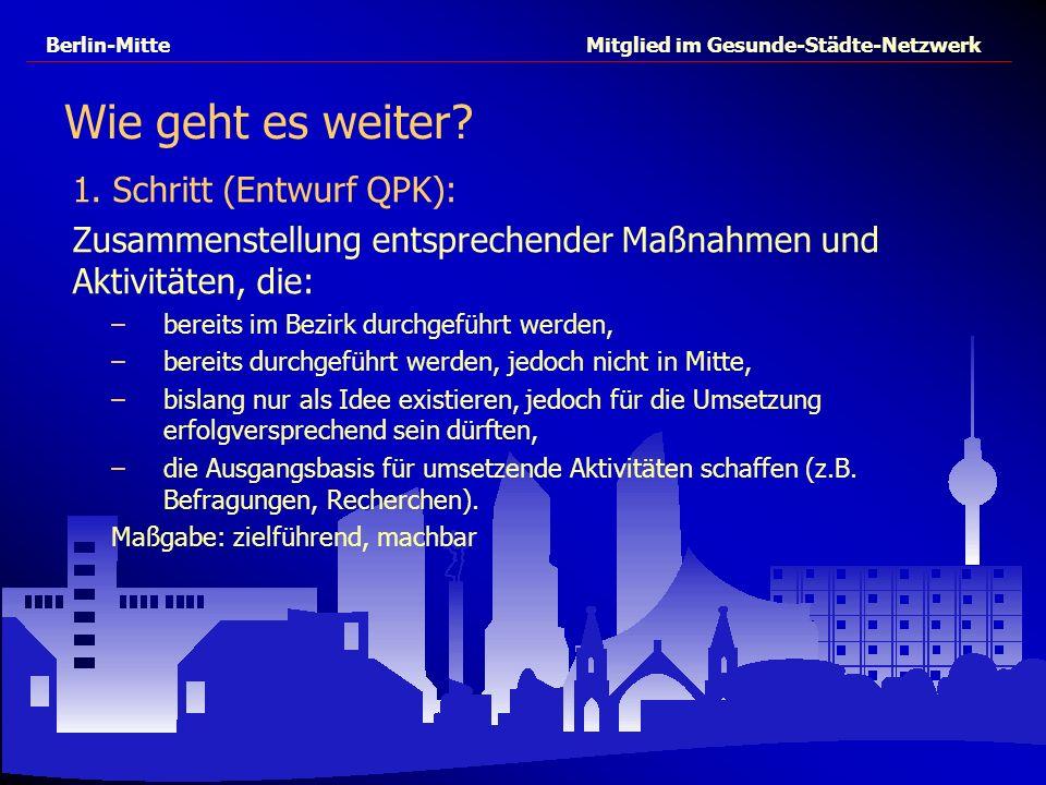 Berlin-Mitte Mitglied im Gesunde-Städte-Netzwerk 1. Schritt (Entwurf QPK): Zusammenstellung entsprechender Maßnahmen und Aktivitäten, die: –bereits im