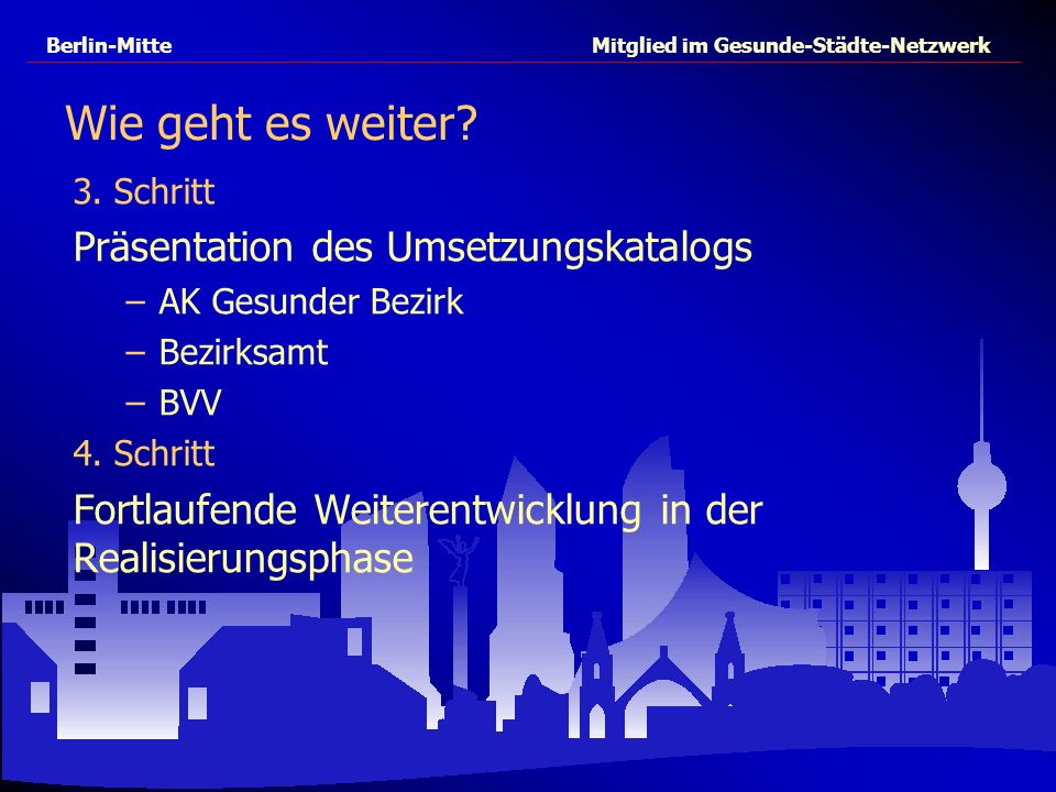 Berlin-Mitte Mitglied im Gesunde-Städte-Netzwerk 3. Schritt Präsentation des Umsetzungskatalogs –AK Gesunder Bezirk –Bezirksamt –BVV 4. Schritt Fortla
