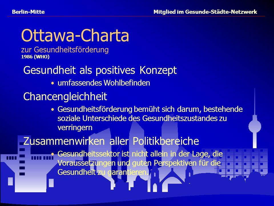Berlin-Mitte Mitglied im Gesunde-Städte-Netzwerk Ottawa-Charta zur Gesundheitsförderung 1986 (WHO) Gesundheit als positives Konzept umfassendes Wohlbe