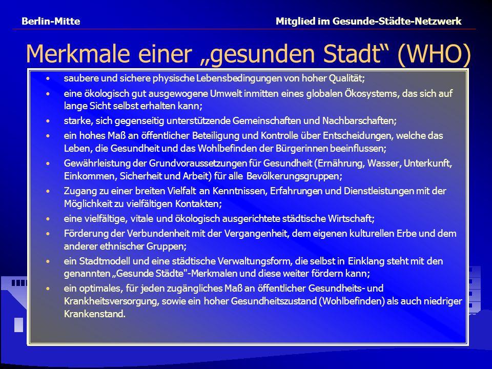 Berlin-Mitte Mitglied im Gesunde-Städte-Netzwerk Merkmale einer gesunden Stadt (WHO) saubere und sichere physische Lebensbedingungen von hoher Qualitä