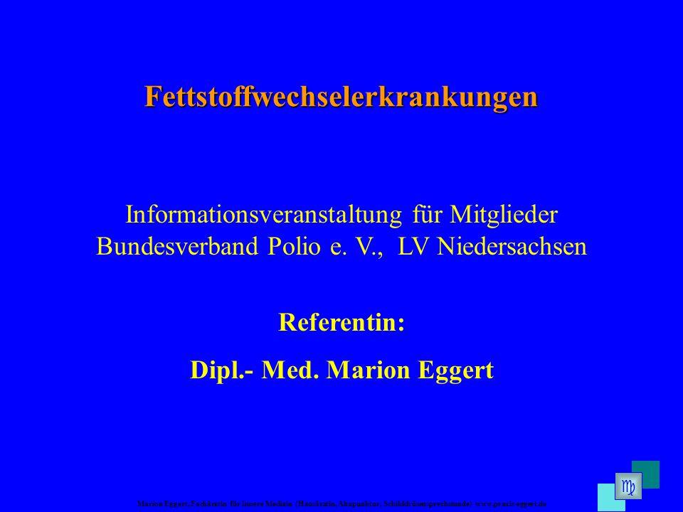 Marion Eggert, Fachärztin für Innere Medizin (Hausärztin, Akupunktur, Schilddrüsensprechstunde) www.praxis-eggert.de Informationsveranstaltung für Mitglieder Bundesverband Polio e.