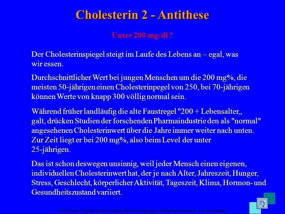 Marion Eggert, Fachärztin für Innere Medizin (Hausärztin, Akupunktur, Schilddrüsensprechstunde) www.praxis-eggert.de Cholesterin 2 - Antithese Unter 200 mg/dl .
