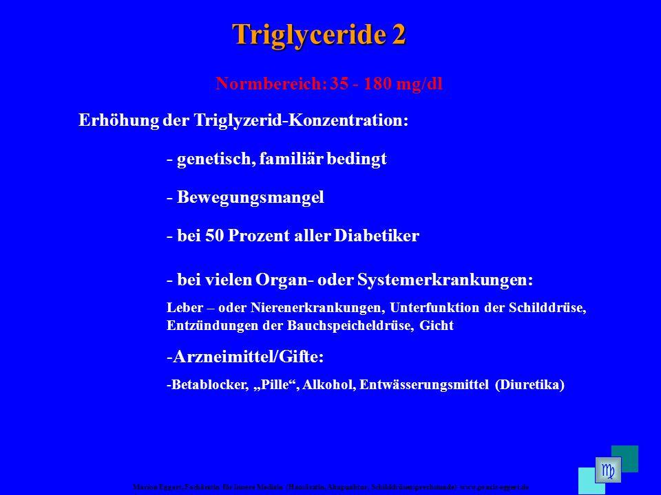 Marion Eggert, Fachärztin für Innere Medizin (Hausärztin, Akupunktur, Schilddrüsensprechstunde) www.praxis-eggert.de Triglyceride 2 Normbereich: 35 -
