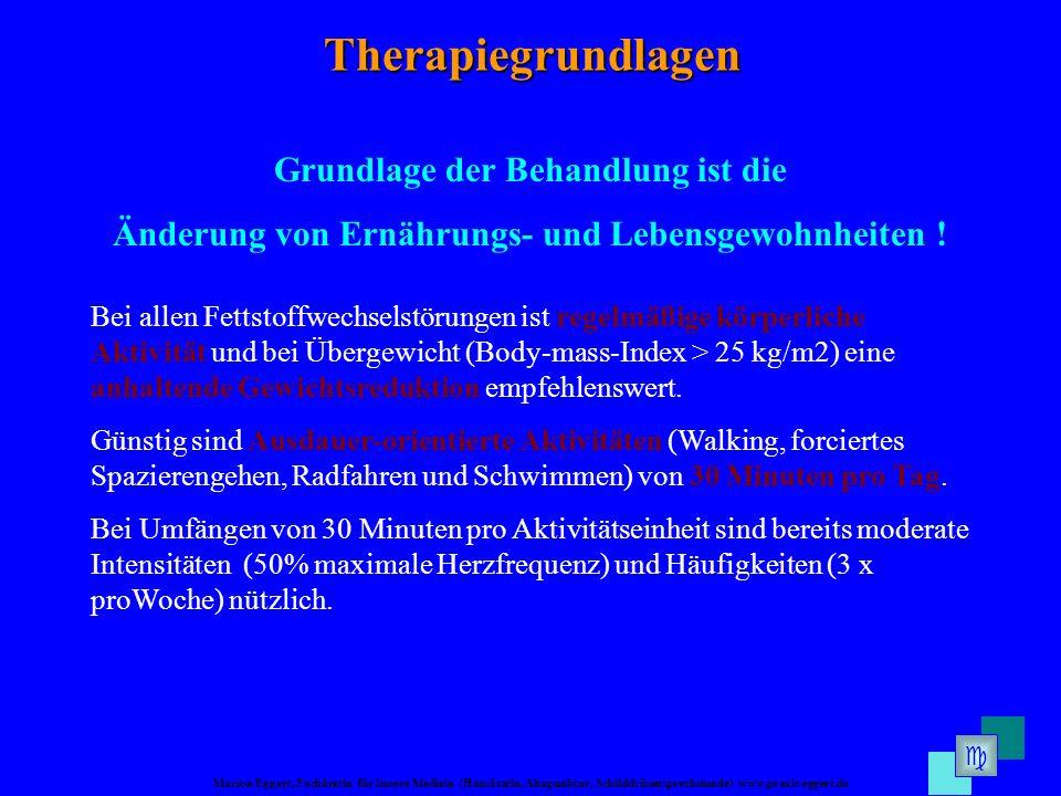 Marion Eggert, Fachärztin für Innere Medizin (Hausärztin, Akupunktur, Schilddrüsensprechstunde) www.praxis-eggert.de Therapiegrundlagen Grundlage der Behandlung ist die Änderung von Ernährungs- und Lebensgewohnheiten .