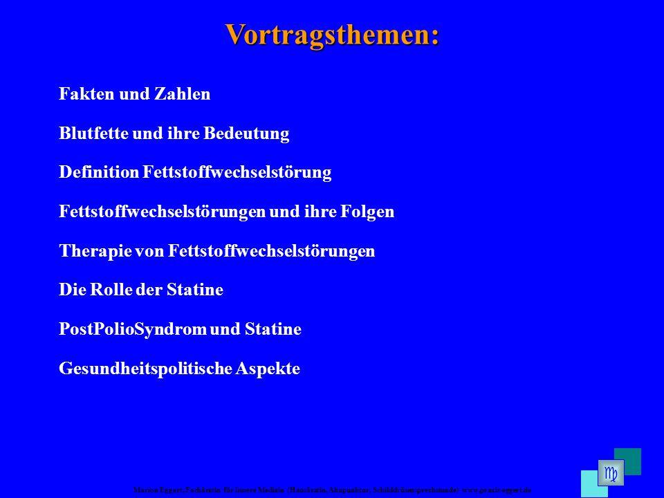 Marion Eggert, Fachärztin für Innere Medizin (Hausärztin, Akupunktur, Schilddrüsensprechstunde) www.praxis-eggert.de Vortragsthemen: Fakten und Zahlen