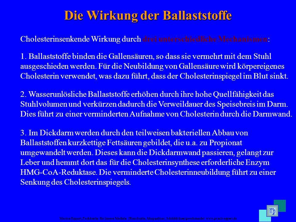 Marion Eggert, Fachärztin für Innere Medizin (Hausärztin, Akupunktur, Schilddrüsensprechstunde) www.praxis-eggert.de Die Wirkung der Ballaststoffe Cho