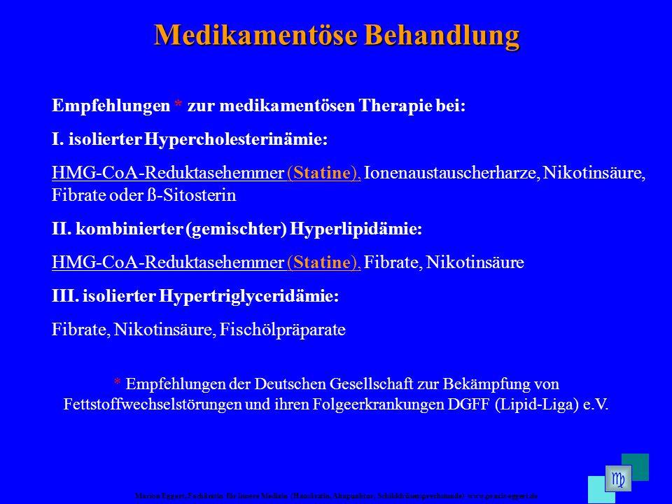 Marion Eggert, Fachärztin für Innere Medizin (Hausärztin, Akupunktur, Schilddrüsensprechstunde) www.praxis-eggert.de Medikamentöse Behandlung Empfehlungen * zur medikamentösen Therapie bei: I.