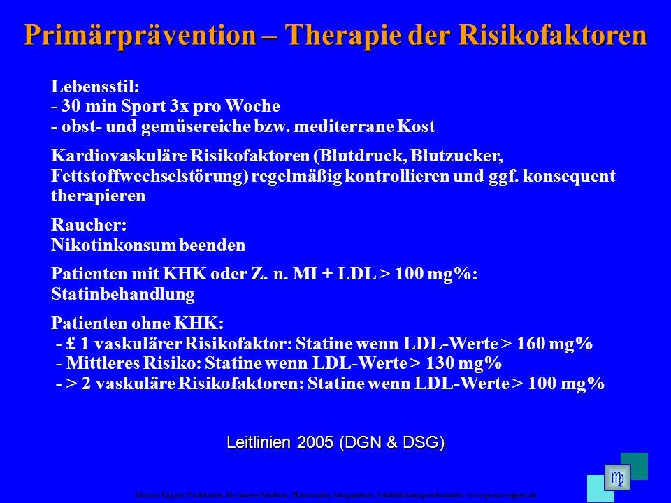 Marion Eggert, Fachärztin für Innere Medizin (Hausärztin, Akupunktur, Schilddrüsensprechstunde) www.praxis-eggert.de Primärprävention – Therapie der Risikofaktoren Leitlinien 2005 (DGN & DSG) Lebensstil: - 30 min Sport 3x pro Woche - obst- und gemüsereiche bzw.