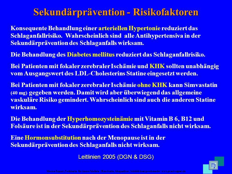 Marion Eggert, Fachärztin für Innere Medizin (Hausärztin, Akupunktur, Schilddrüsensprechstunde) www.praxis-eggert.de Sekundärprävention - Risikofaktoren Leitlinien 2005 (DGN & DSG) Konsequente Behandlung einer arteriellen Hypertonie reduziert das Schlaganfallrisiko.