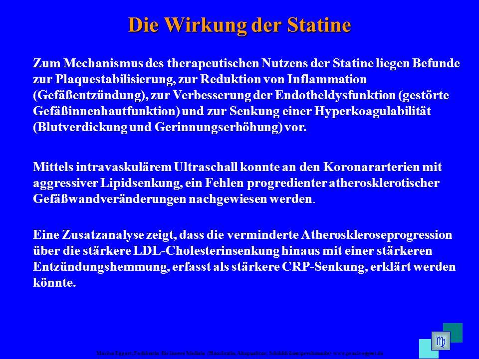 Marion Eggert, Fachärztin für Innere Medizin (Hausärztin, Akupunktur, Schilddrüsensprechstunde) www.praxis-eggert.de Die Wirkung der Statine Zum Mecha