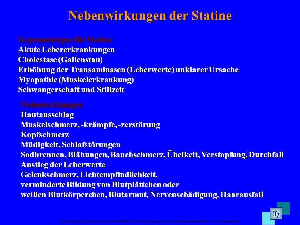 Marion Eggert, Fachärztin für Innere Medizin (Hausärztin, Akupunktur, Schilddrüsensprechstunde) www.praxis-eggert.de Nebenwirkungen der Statine Gegena