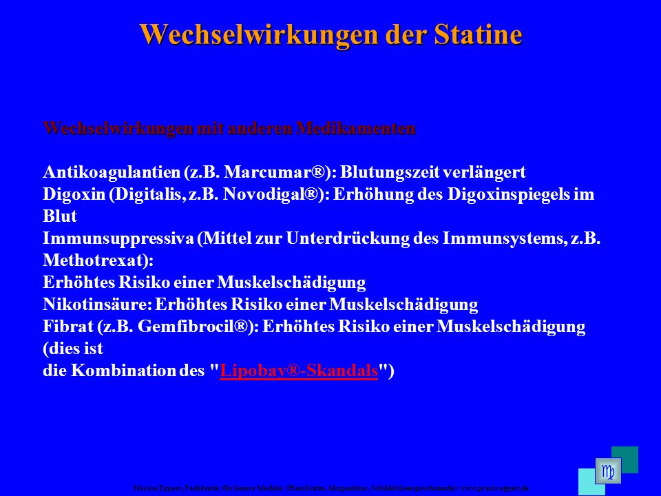Marion Eggert, Fachärztin für Innere Medizin (Hausärztin, Akupunktur, Schilddrüsensprechstunde) www.praxis-eggert.de Wechselwirkungen der Statine Wech