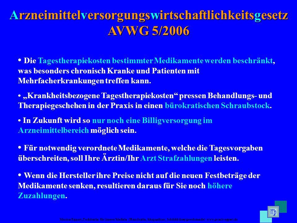Marion Eggert, Fachärztin für Innere Medizin (Hausärztin, Akupunktur, Schilddrüsensprechstunde) www.praxis-eggert.de Arzneimittelversorgungswirtschaft