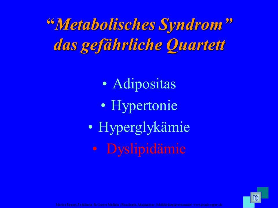 Marion Eggert, Fachärztin für Innere Medizin (Hausärztin, Akupunktur, Schilddrüsensprechstunde) www.praxis-eggert.de Metabolisches SyndromMetabolisches Syndrom das gefährliche Quartett Adipositas Hypertonie Hyperglykämie Dyslipidämie