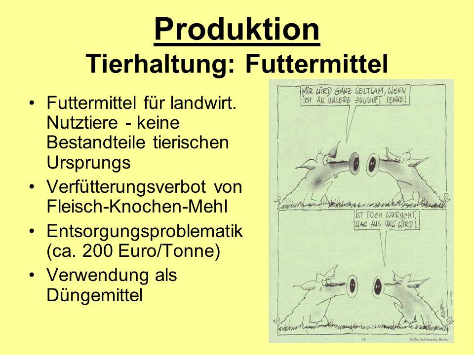 Produktion Tierhaltung: Futtermittel Futtermittel für landwirt. Nutztiere - keine Bestandteile tierischen Ursprungs Verfütterungsverbot von Fleisch-Kn