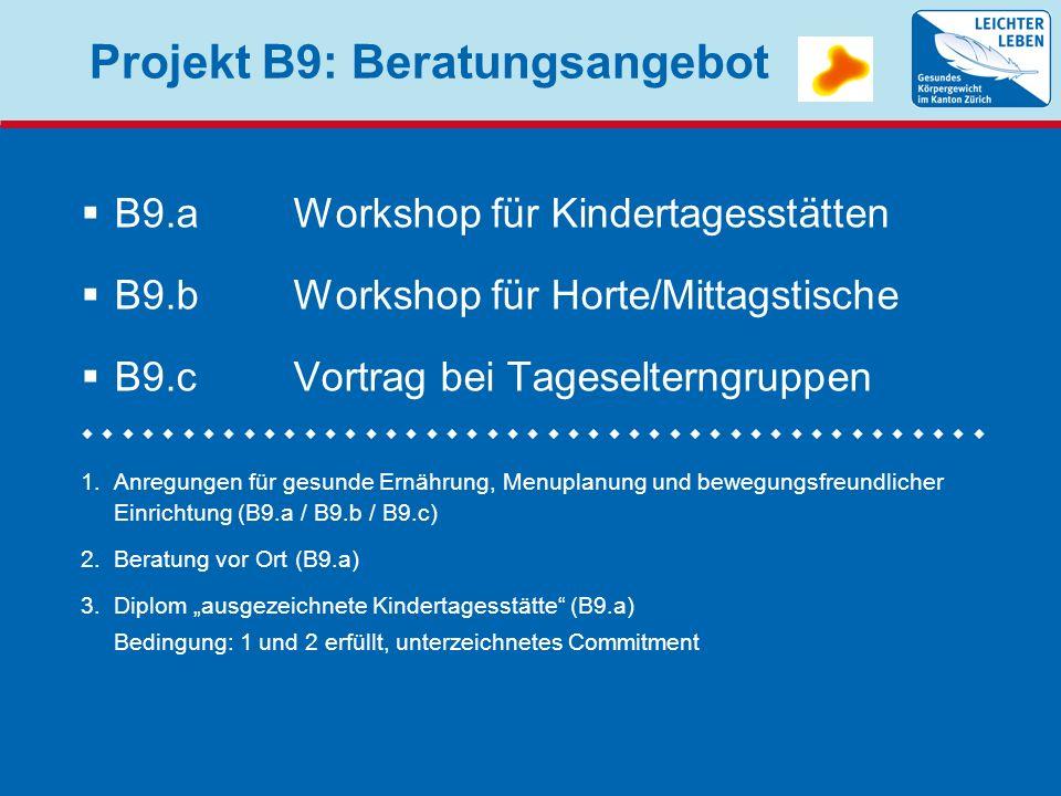 Projekt B9: Zeitplan B9.aWorkshop für Kitas (150 T.) Ende März 2010: Information der Gemeinden und der Kitas ab Mai: 6 Workshops in Zürich (2), Winterthur, Bülach, Wetzikon, Opfikon B9.bWorkshop für Horte/Mittagstische (120 T.) Juli 2010: Information der Gemeinden und der Horte/Mittagstische ab Oktober: 6 Workshops in Zürich (2), Winterthur (2), Bülach, Wetzikon B9.cVortrag bei Tageselterngruppen Januar 2011: Information der Gemeinden und Tageselternvereinigungen ab April 2011: Erste Veranstaltungen